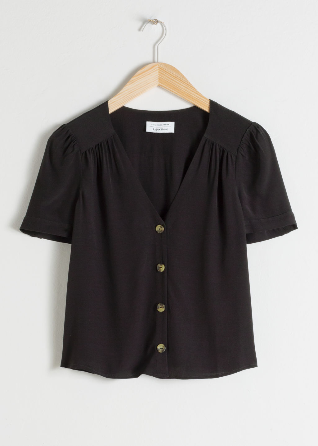 Front image of Stories button down blouse  in black