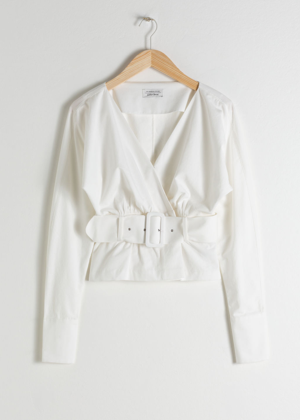 Front image of Stories belted blouse in white