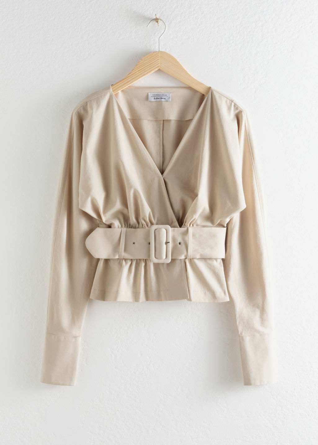 Front image of Stories belted blouse in beige