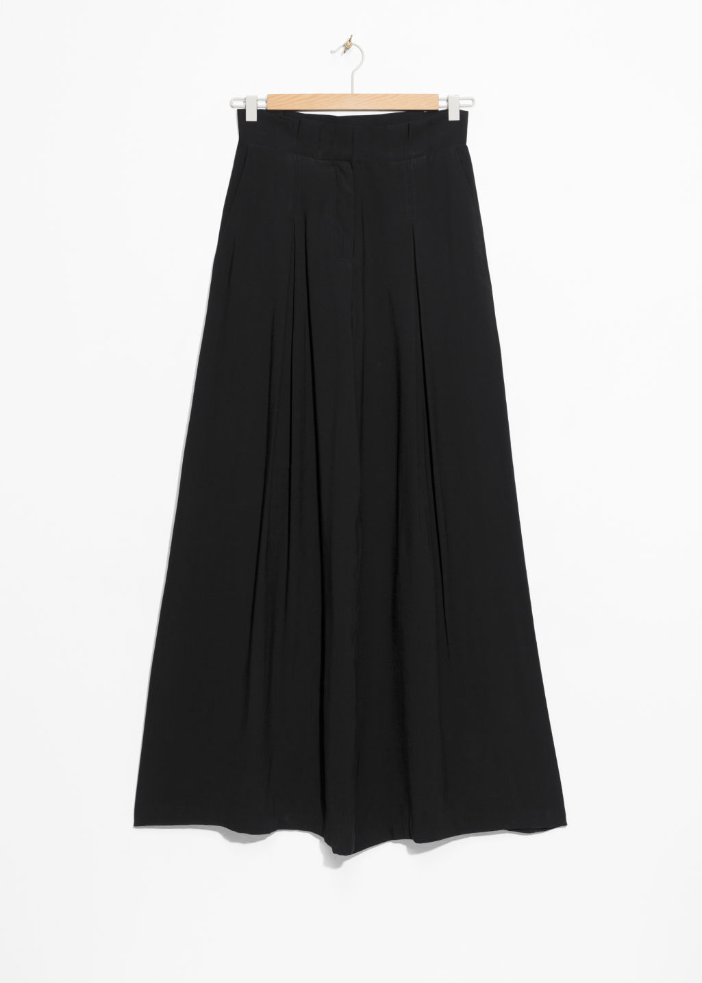 Front image of Stories paperwaist wide trousers in black