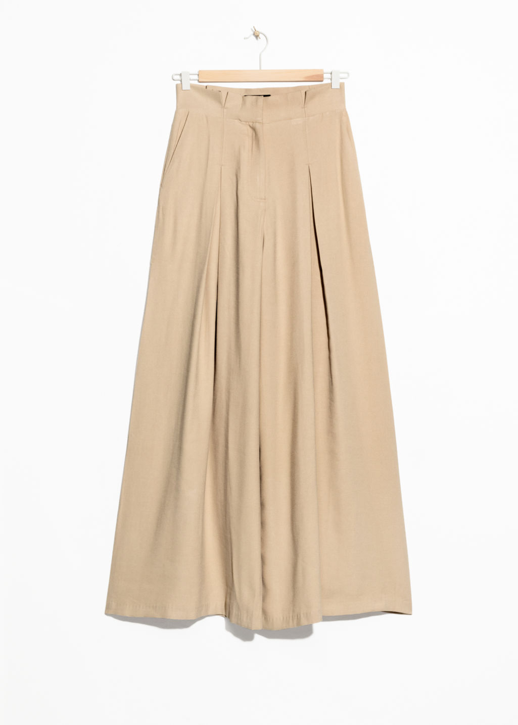 Front image of Stories paperwaist wide trousers in beige