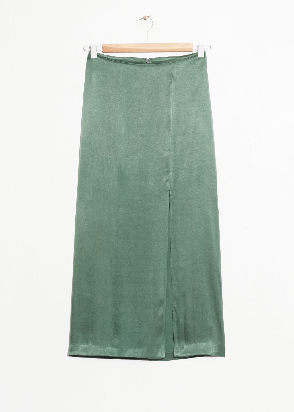 Front image of Stories side slit midi skirt in green