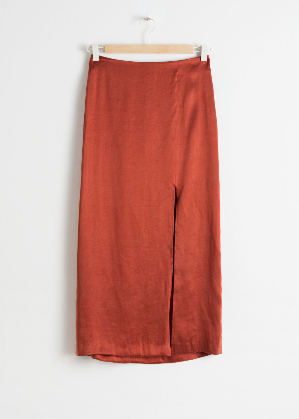 Front image of Stories side slit midi skirt in orange