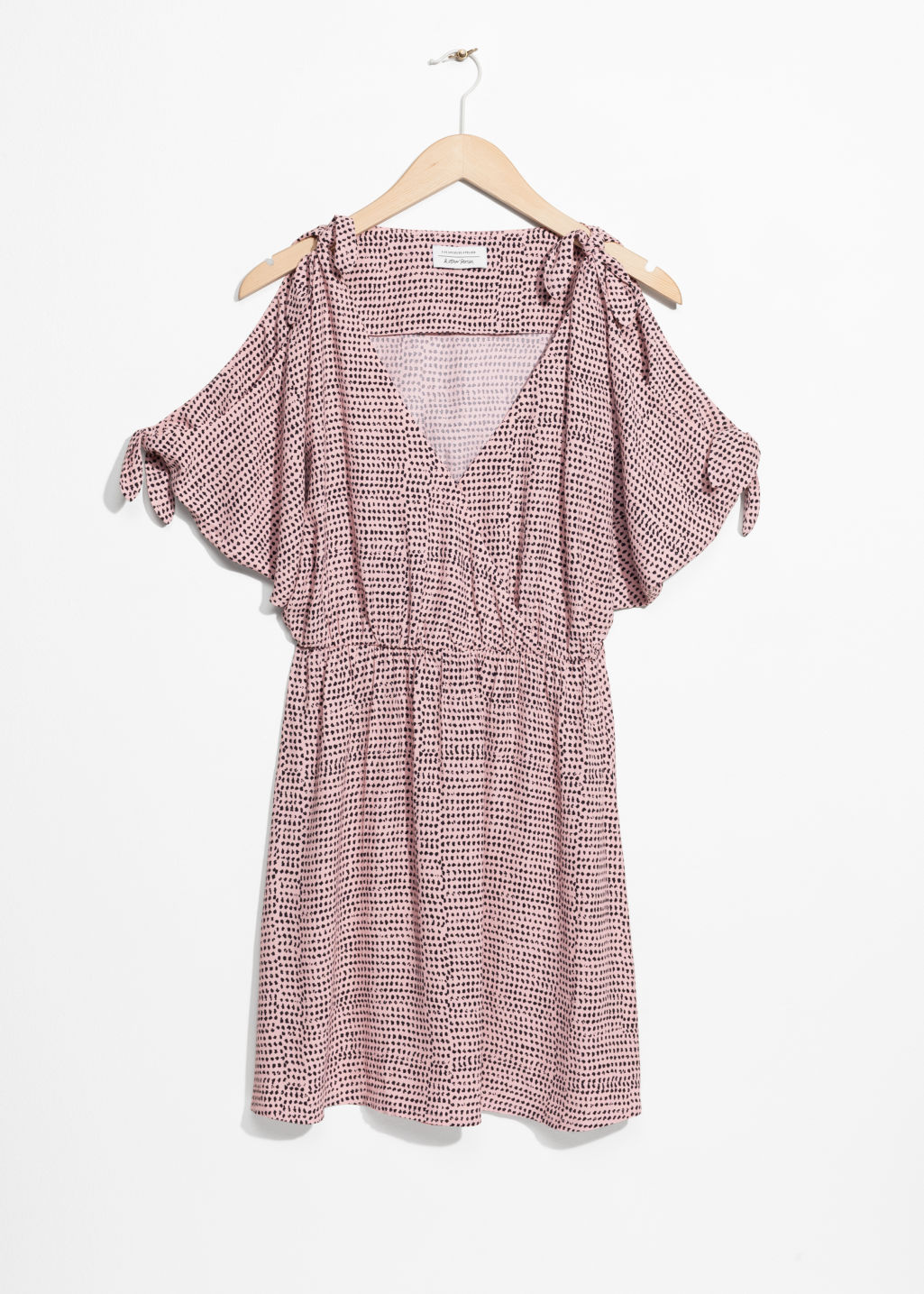 Front image of Stories shoulder tie dress in pink