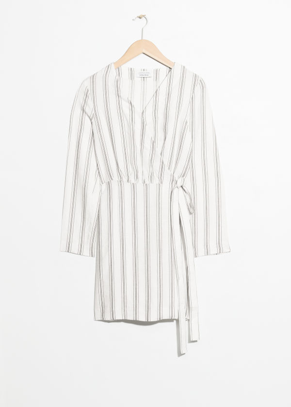 Striped Linen Blend Wrap Dress