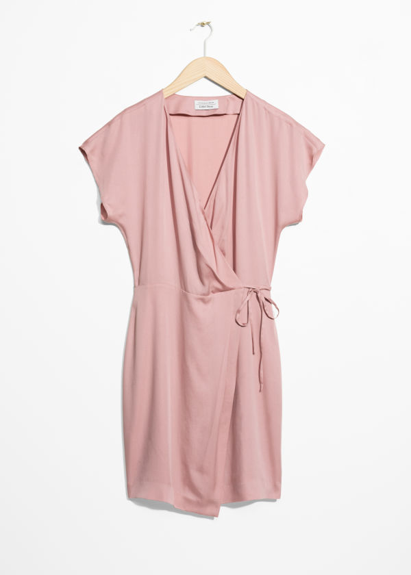 Front image of Stories sleeveless wrap dress in pink