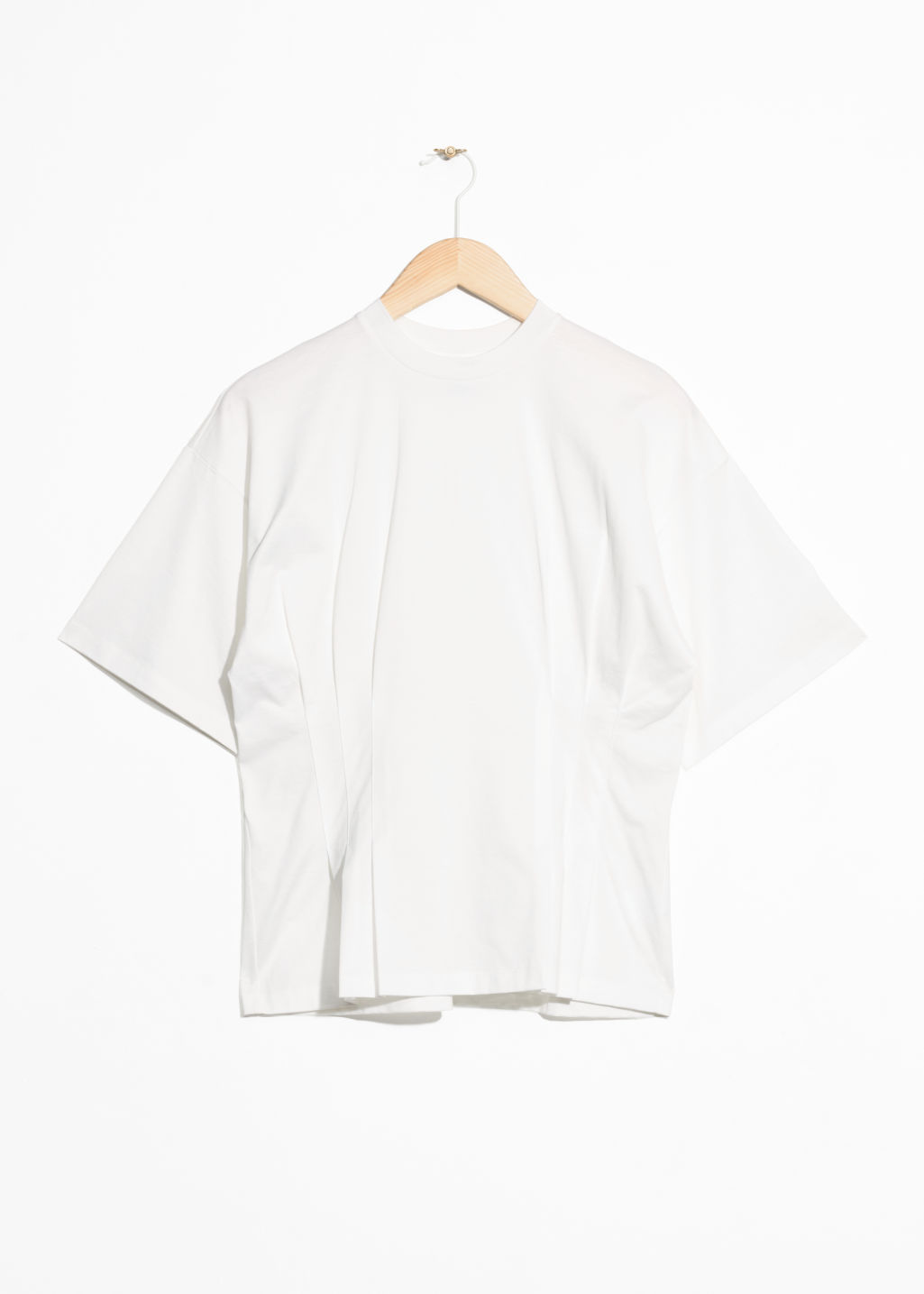 Front image of Stories pleated t-shirt in white