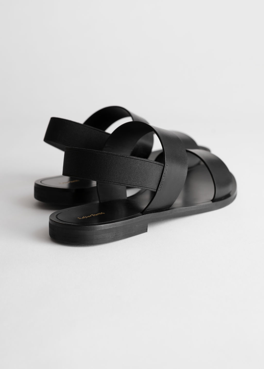Back image of Stories wide strap sandals in black