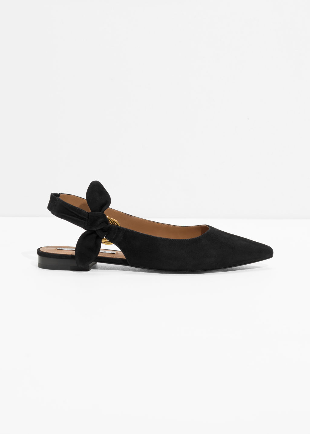 Pointed Duo D-Ring Slingbacks - Black - Flats -   Other Stories