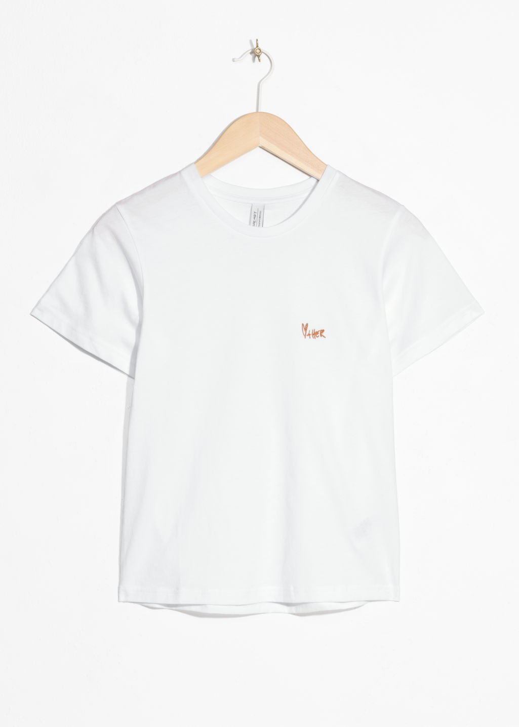 Front image of Stories heart other embroidered tee in white
