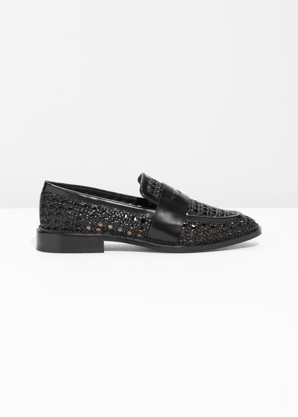 Front image of Stories woven loafers in black