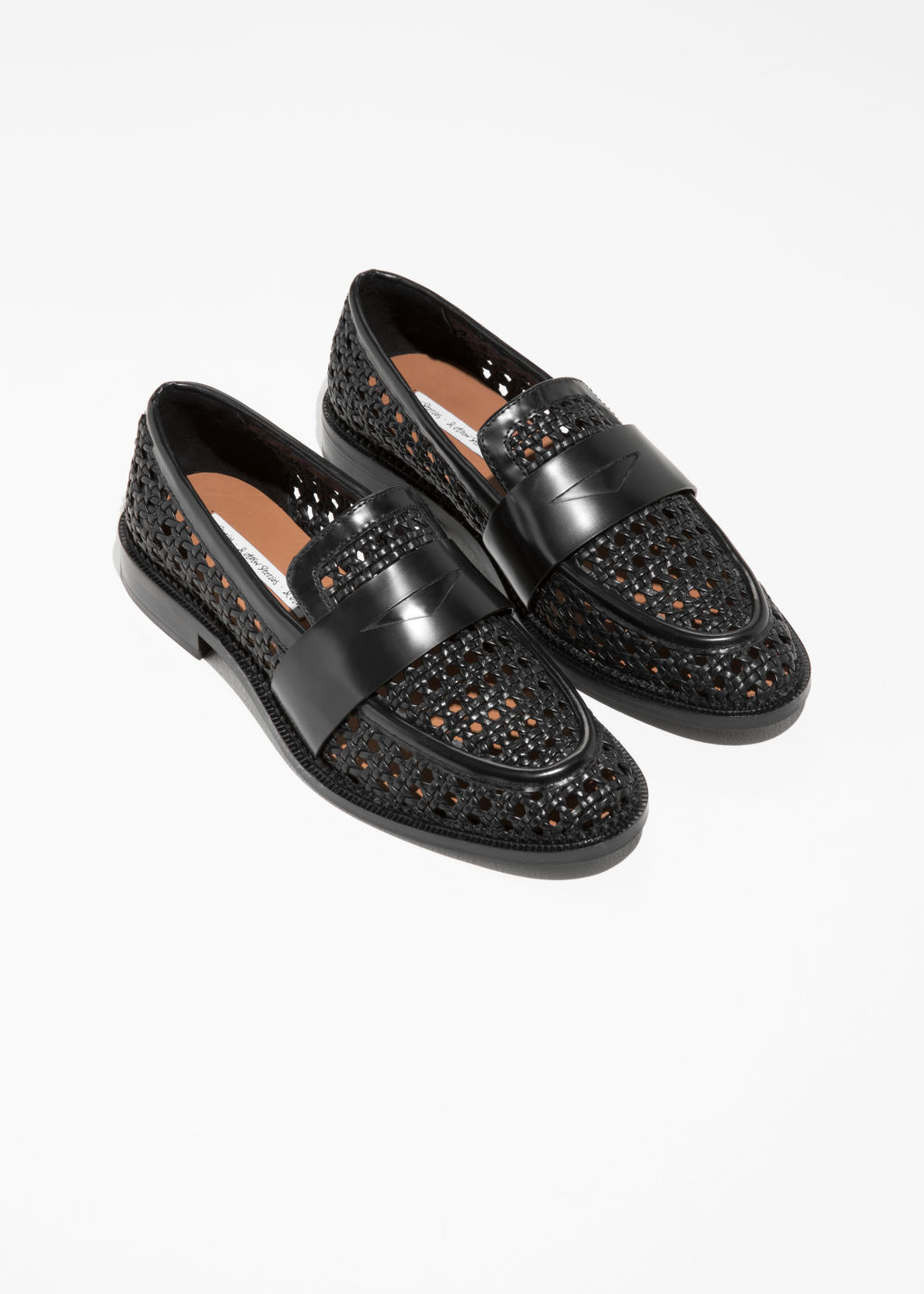 Back image of Stories woven loafers in black