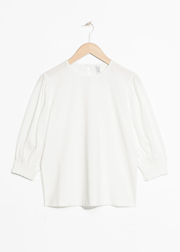 Front image of Stories ruched balloon sleeve blouse in white
