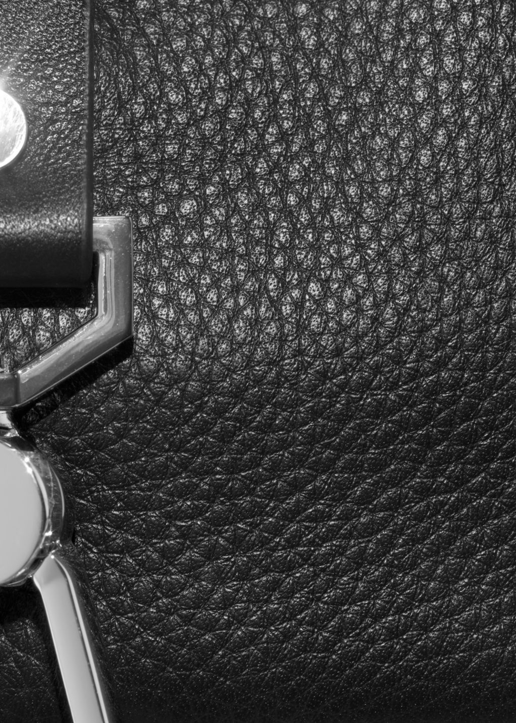 Back image of Stories mini leather buckle crossover in black