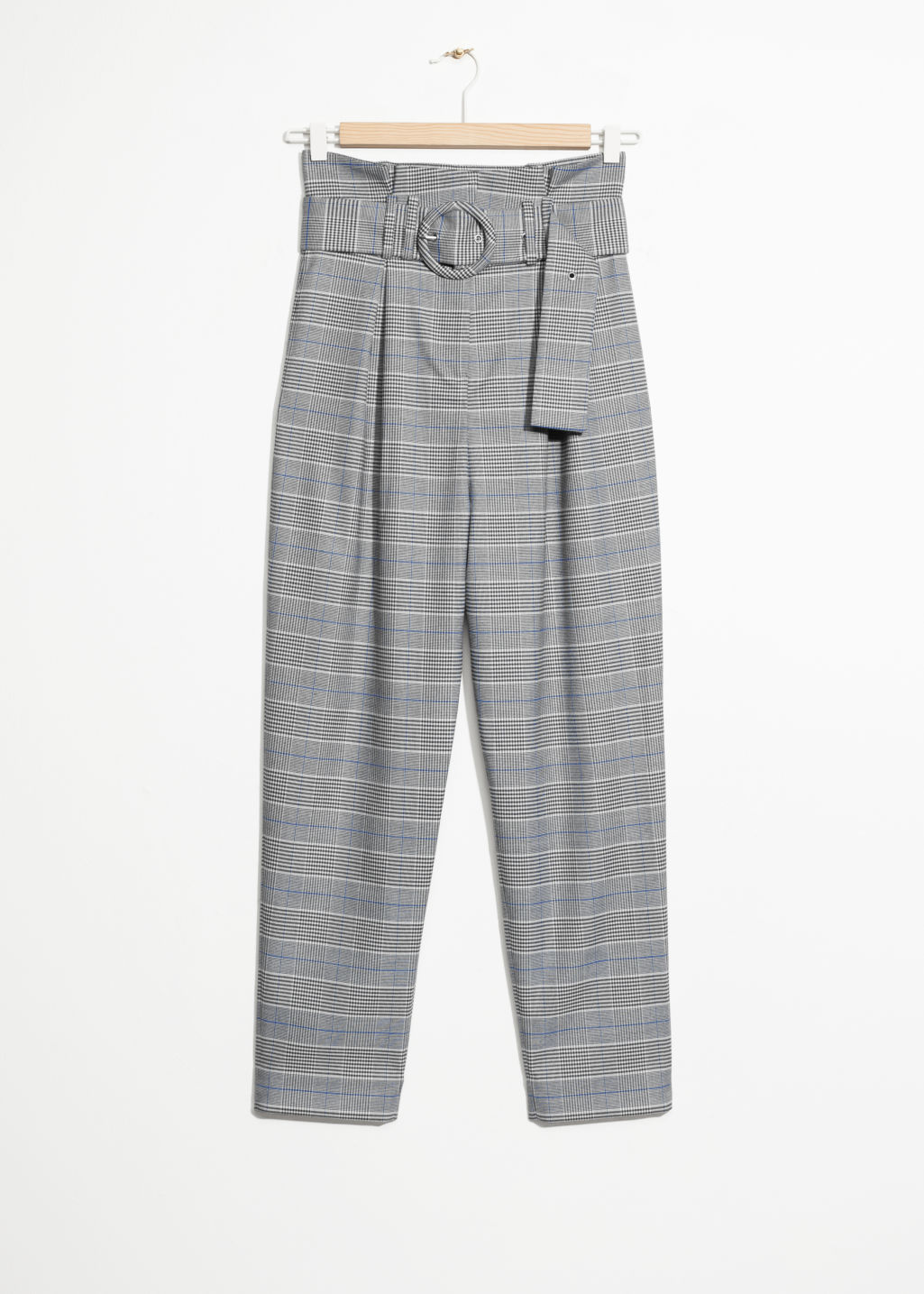 Front image of Stories high waisted belted trousers in grey