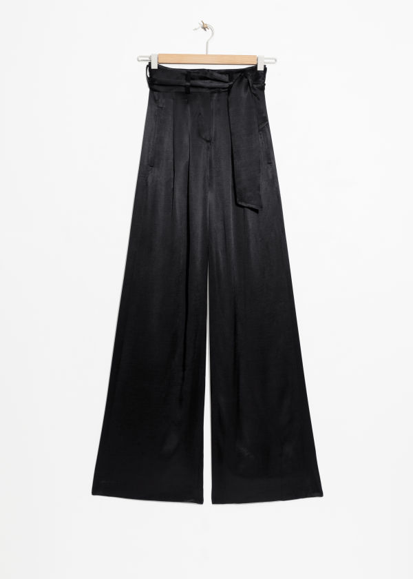 High Waisted Satin Flares