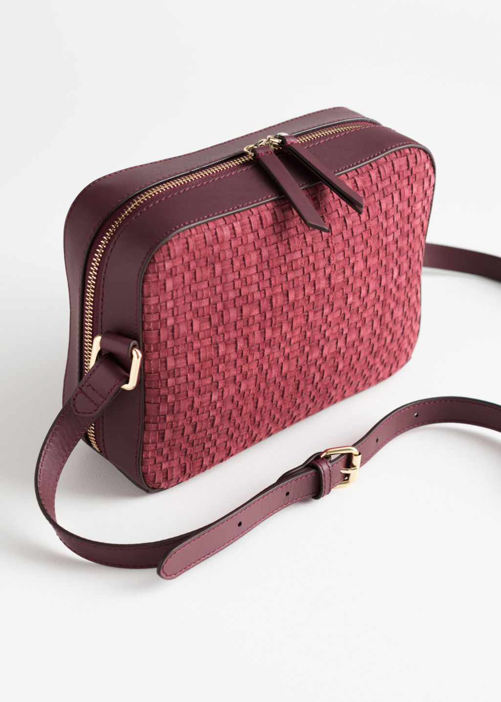 Back image of Stories braided suede crossbody bag in red