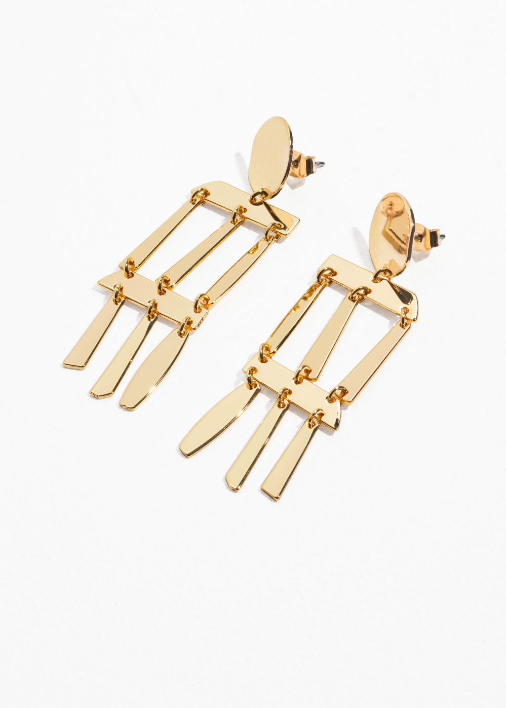Front image of Stories abstract hanging earrings  in gold