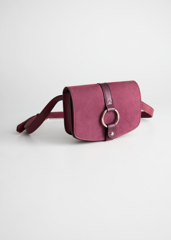 Front image of Stories leather snake textured beltbag in red