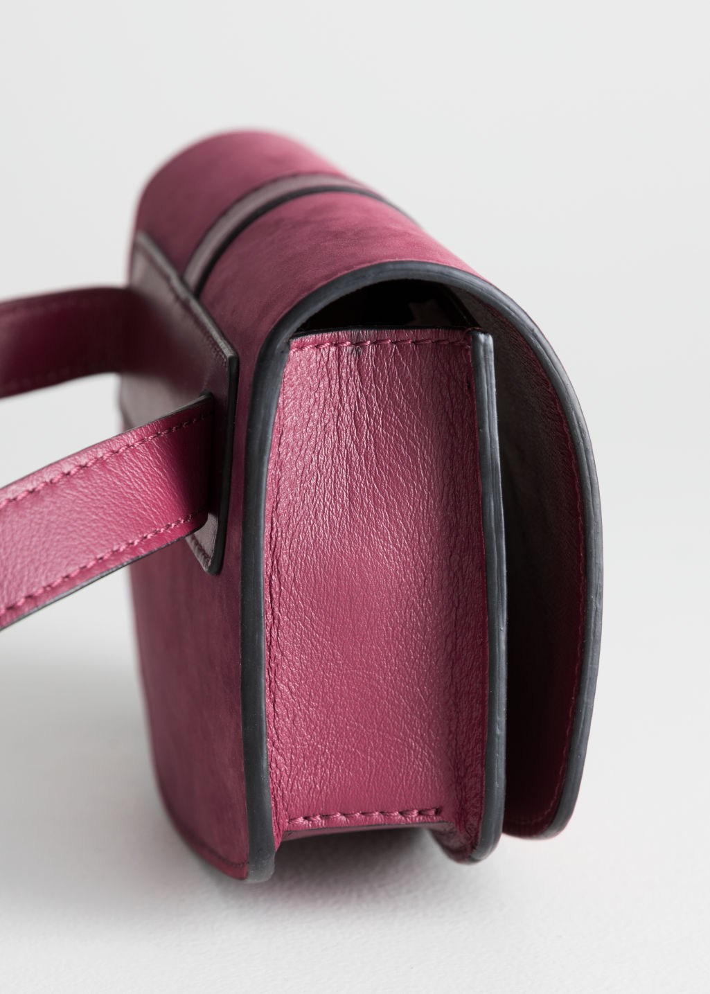 Back image of Stories leather snake textured beltbag in red