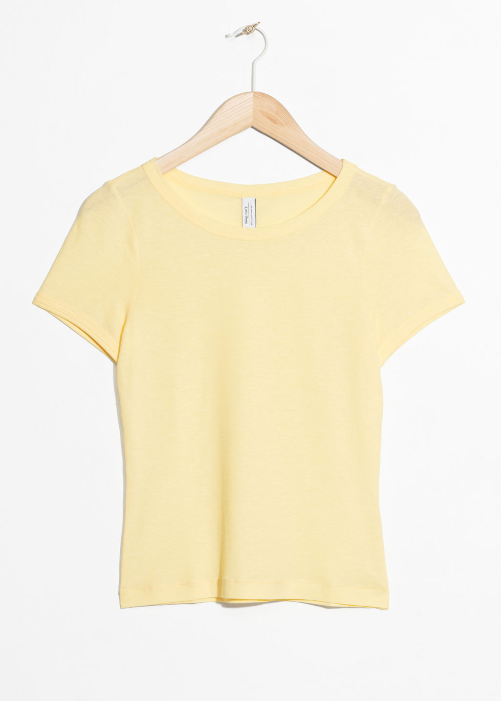 Front image of Stories fitted tee in yellow