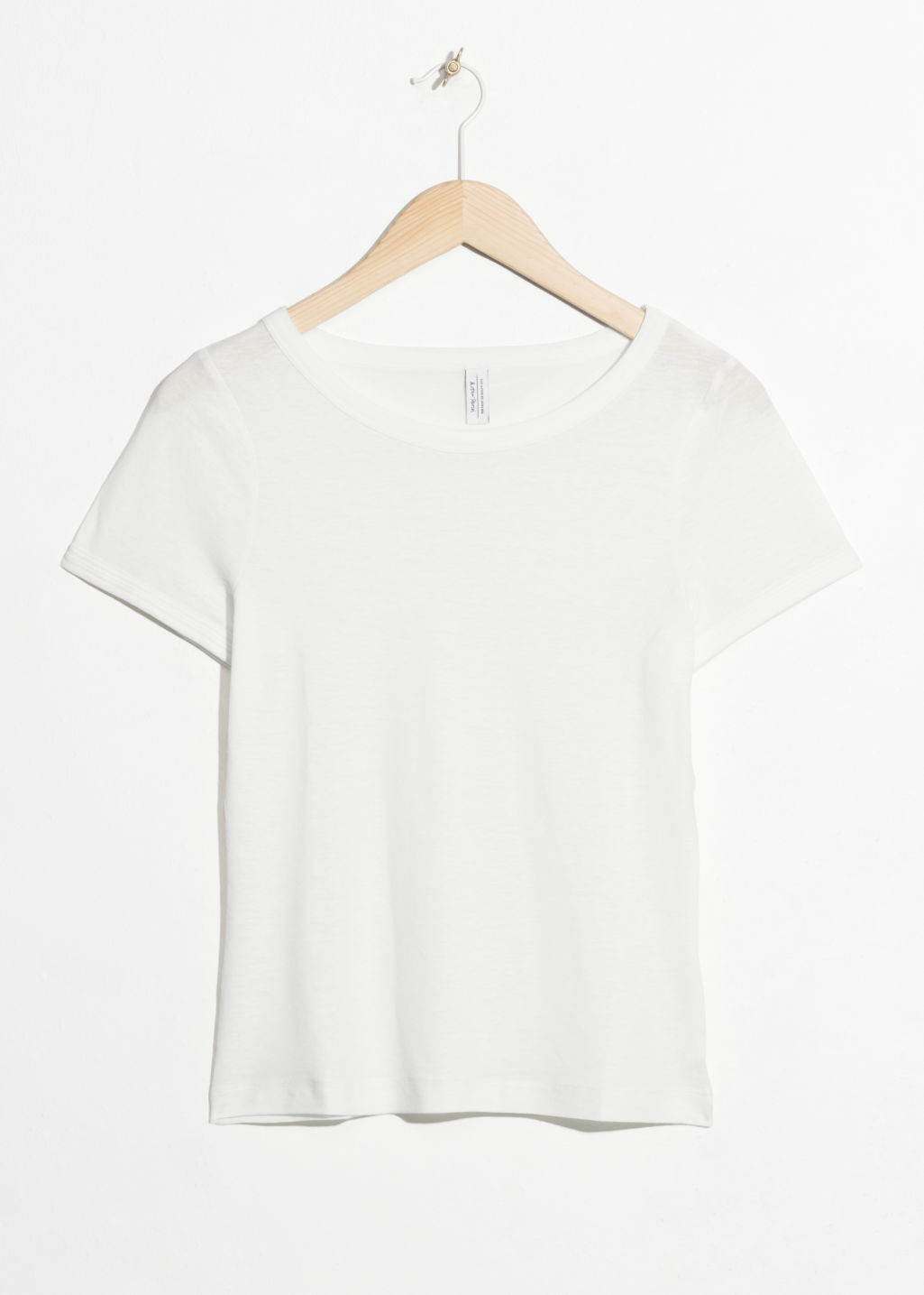Front image of Stories fitted tee in white