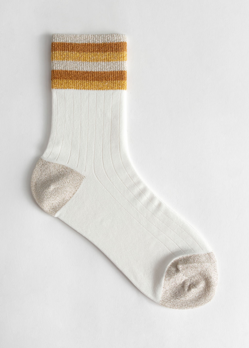 Front image of Stories ribbed varsity glitter socks in yellow