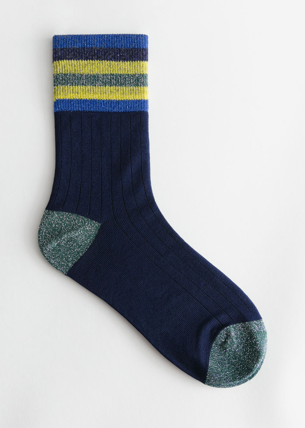 Front image of Stories ribbed varsity glitter socks in blue