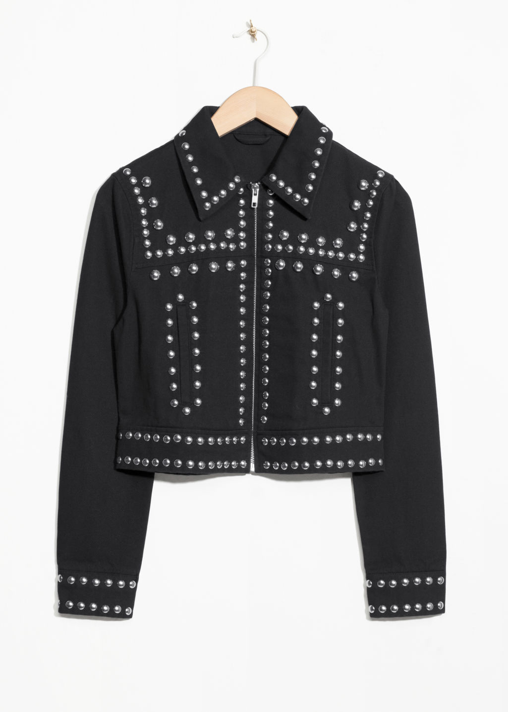 Front image of Stories dome studded jacket  in black