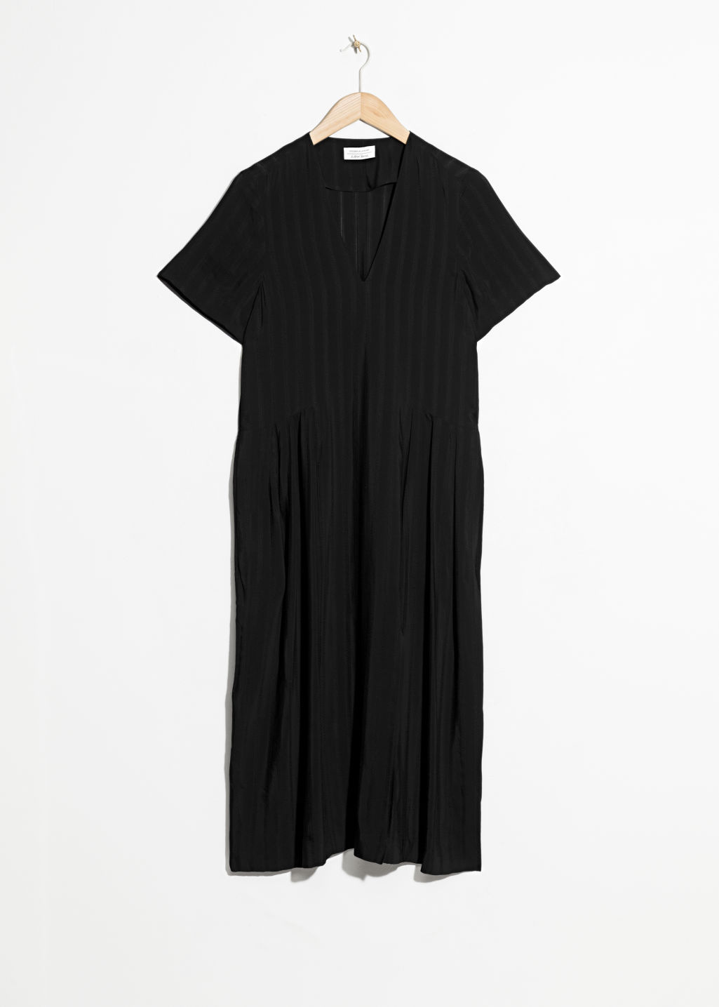 Front image of Stories midi pleated shirt dress in black