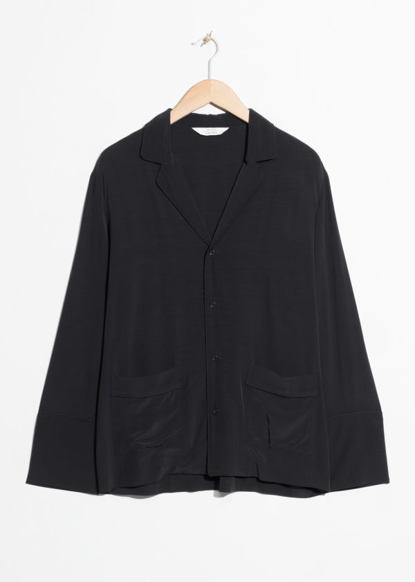 Front image of Stories lounge button down shirt  in black