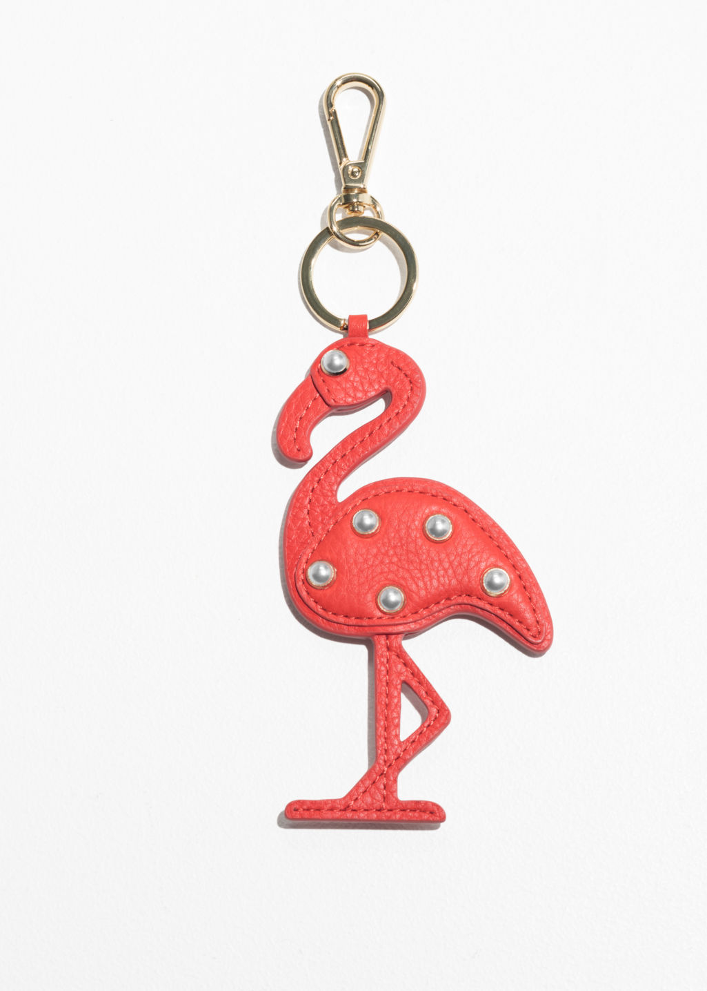 Front image of Stories pearl bead flamingo keyring in orange