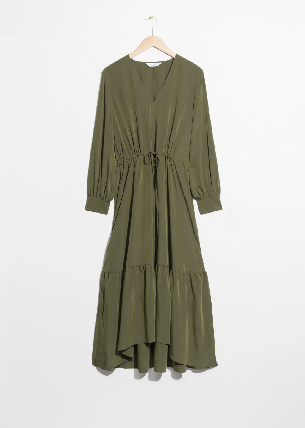 Front image of Stories drawstring utilitarian maxi in green