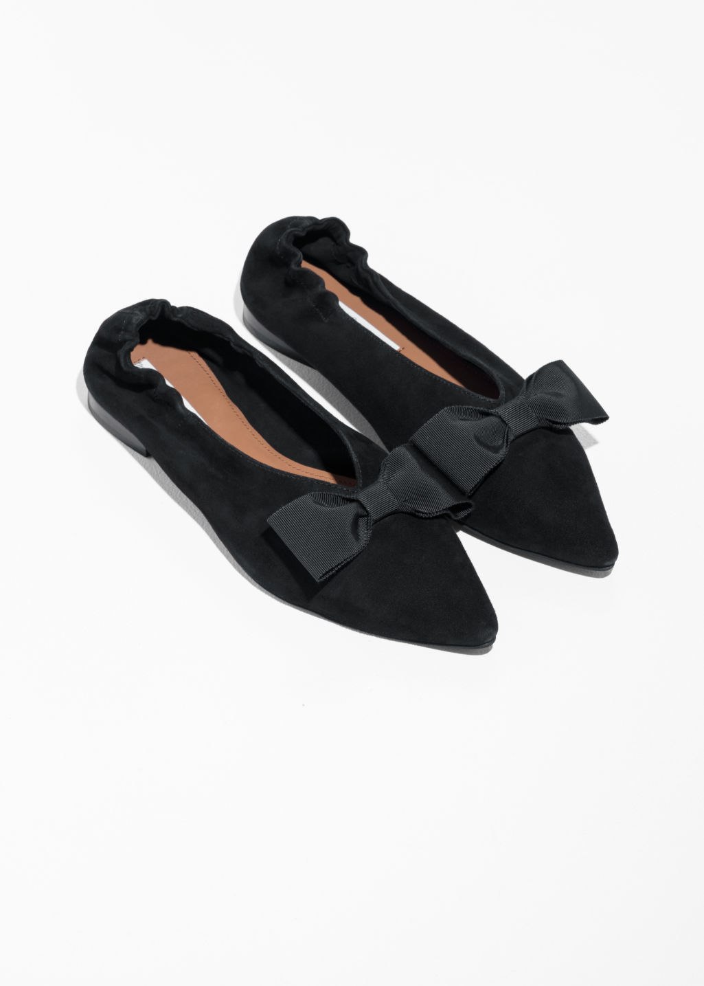 Back image of Stories pointy bow flats in black