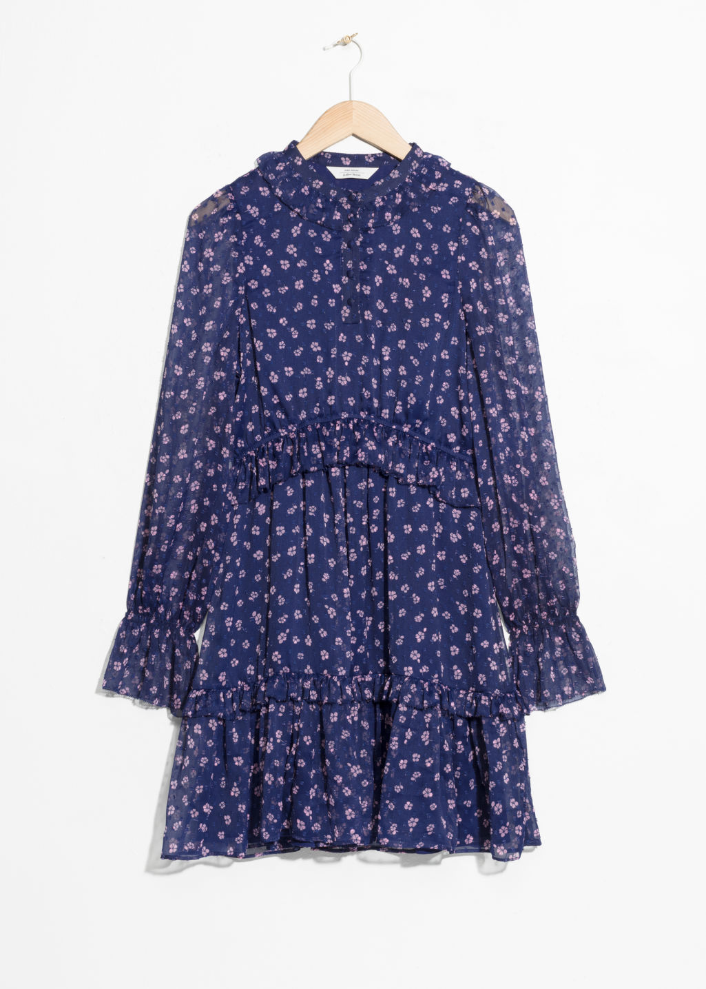 Front image of Stories layered ruffle dress in blue