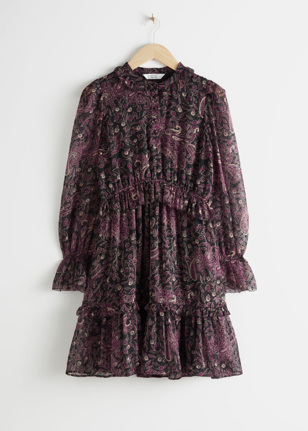 Front image of Stories layered ruffle dress in purple