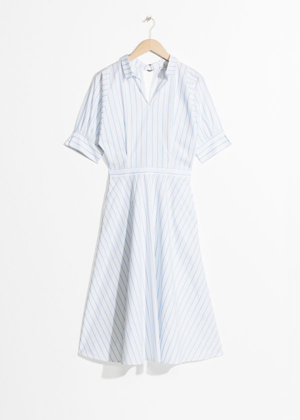 Front image of Stories striped a-line dress in white