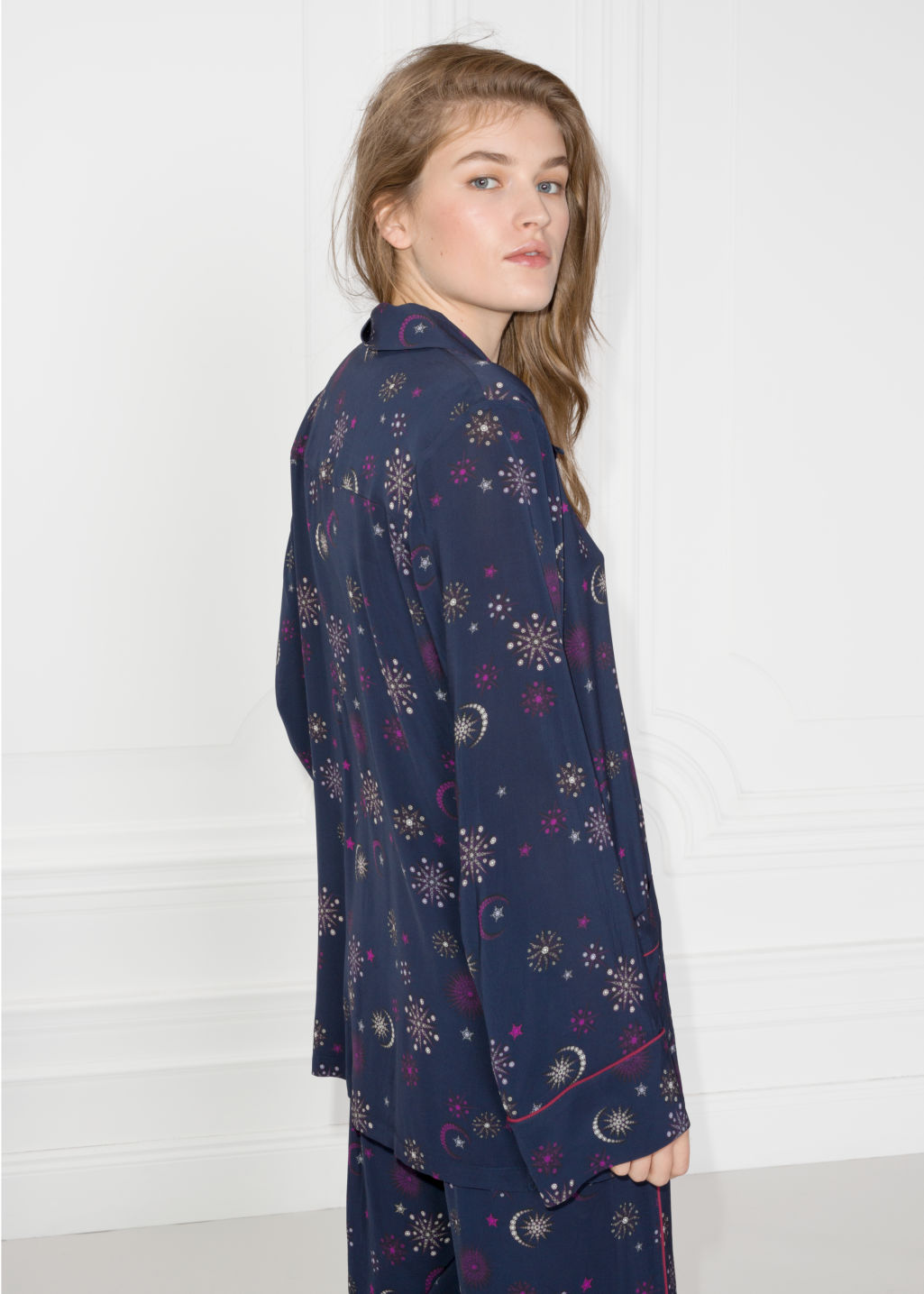 Back image of Stories lounge jacquard shirt in blue