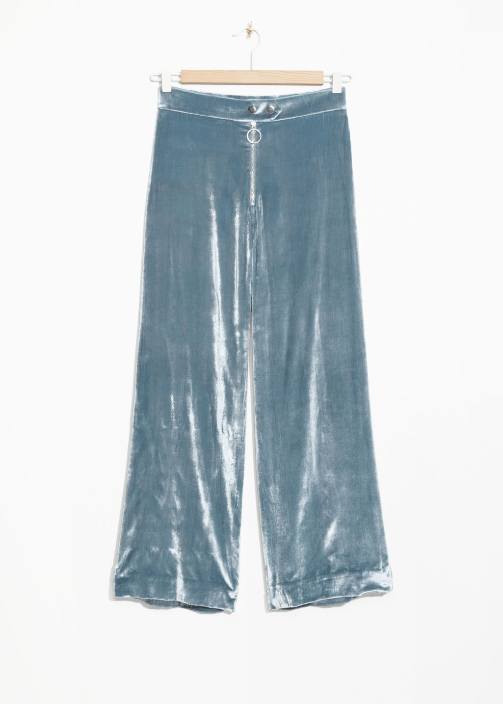 Front image of Stories high waisted velvet culottes in blue
