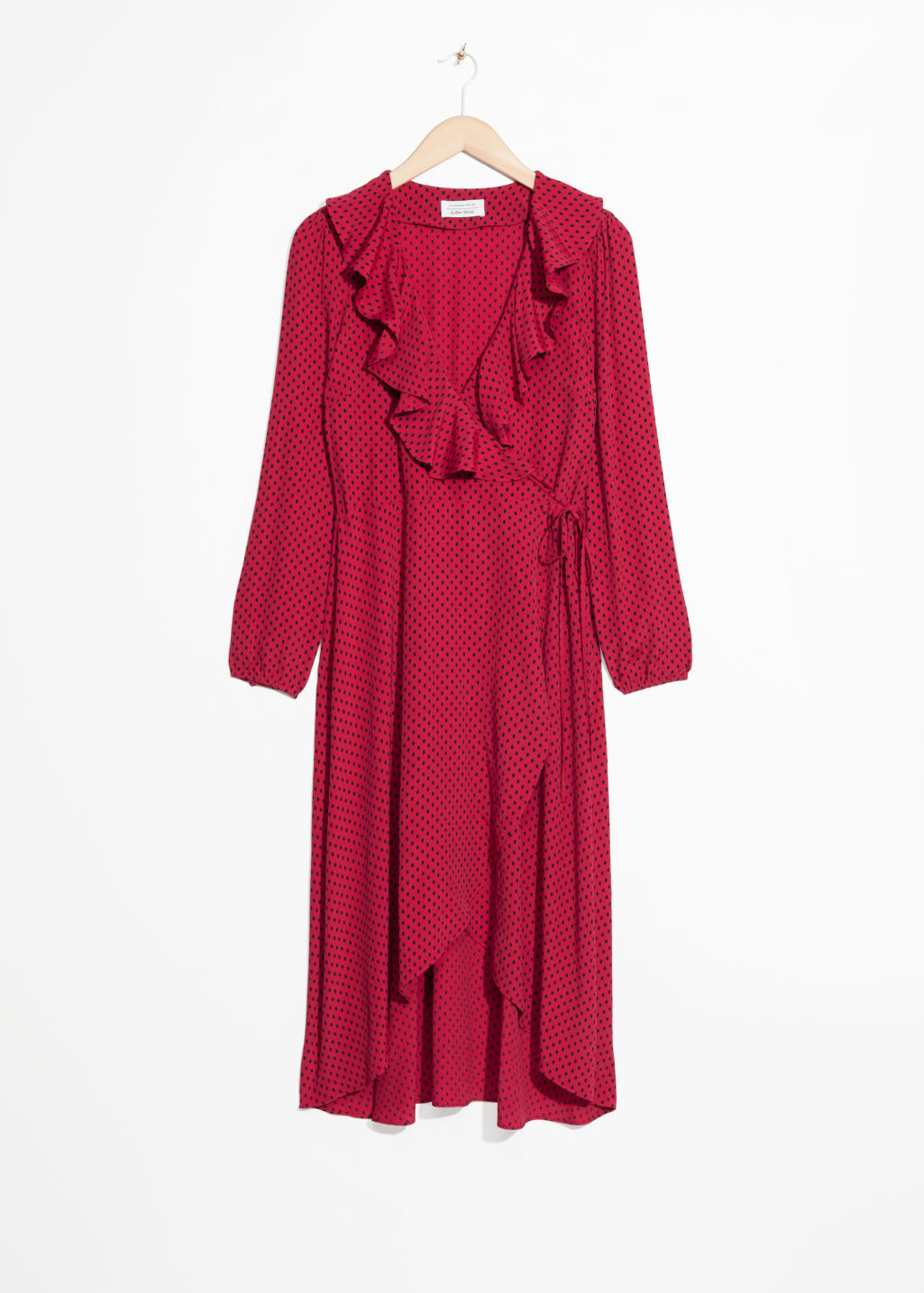 Front image of Stories ruffle tie wrap dress in red