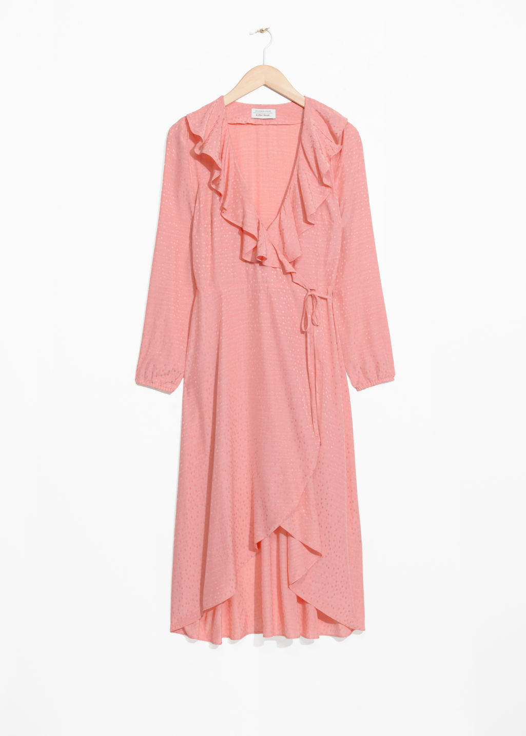 Front image of Stories ruffle tie wrap dress in pink