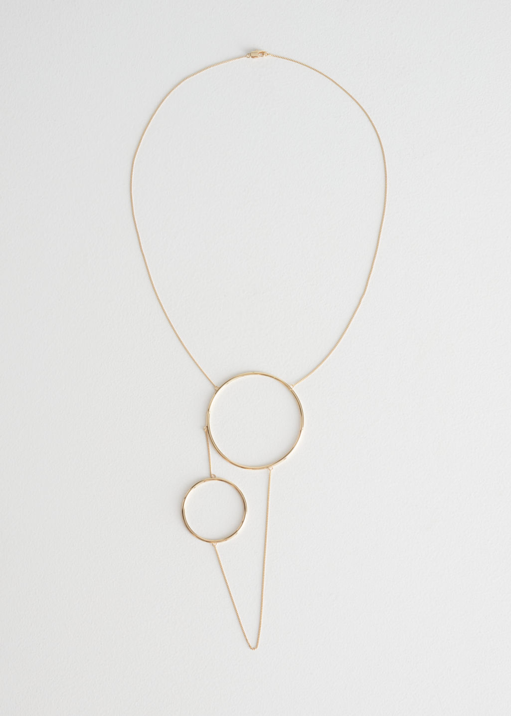 Front image of Stories duo circle chain necklace in gold