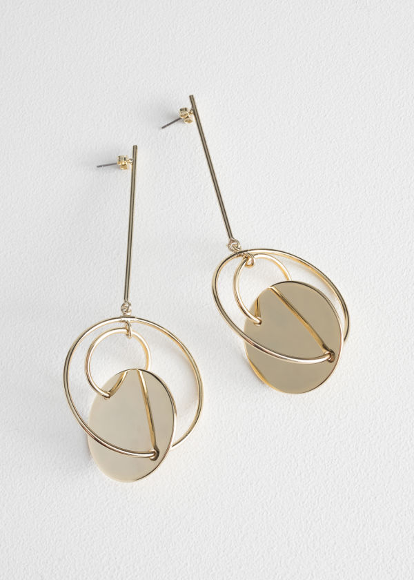 Disc Hoop Hanging Earrings