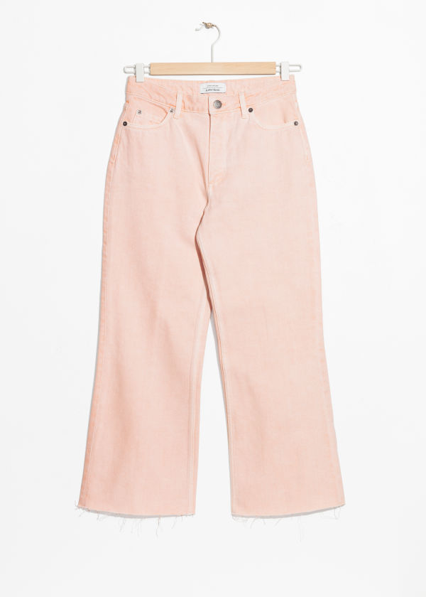 Front image of Stories cropped flare jeans in pink