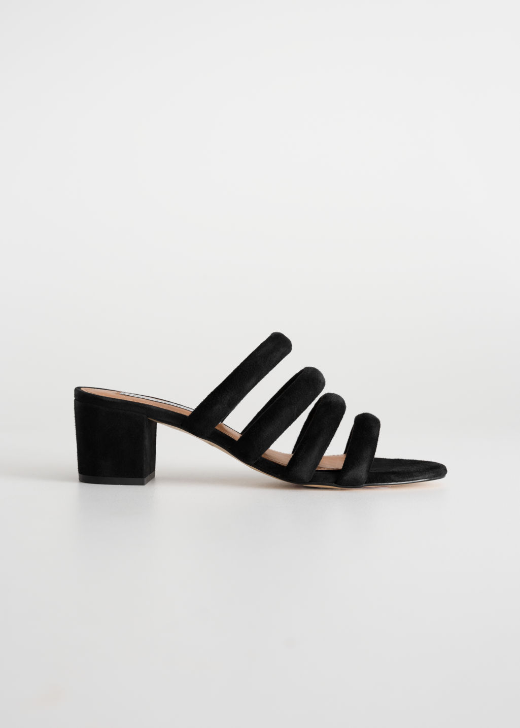 Front image of Stories heeled suede four strap sandal in black