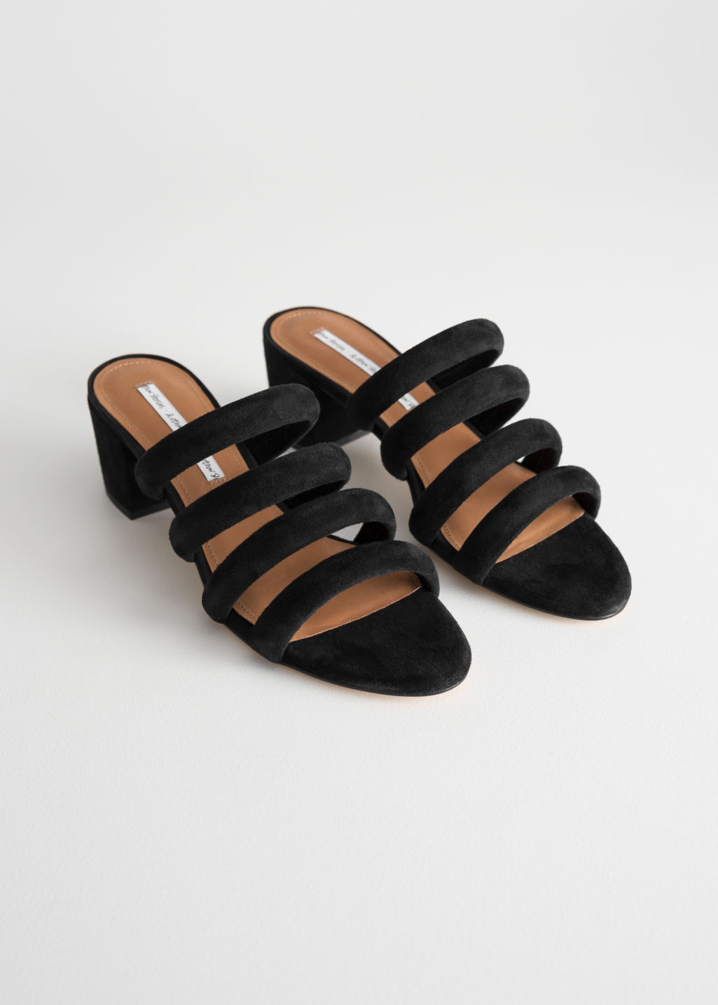 Back image of Stories heeled suede four strap sandal in black