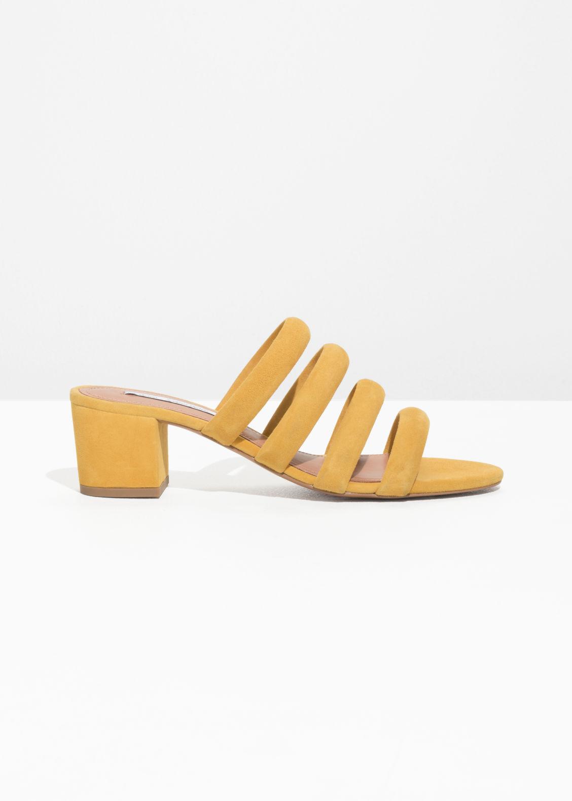 Venta con tarjeta de crédito & OTHER STORIES Heeled Suede Four Strap Sandal - Yellow Footlocker Finishline Proveedor más grande en línea barato Manchester en línea OagwyYGizA