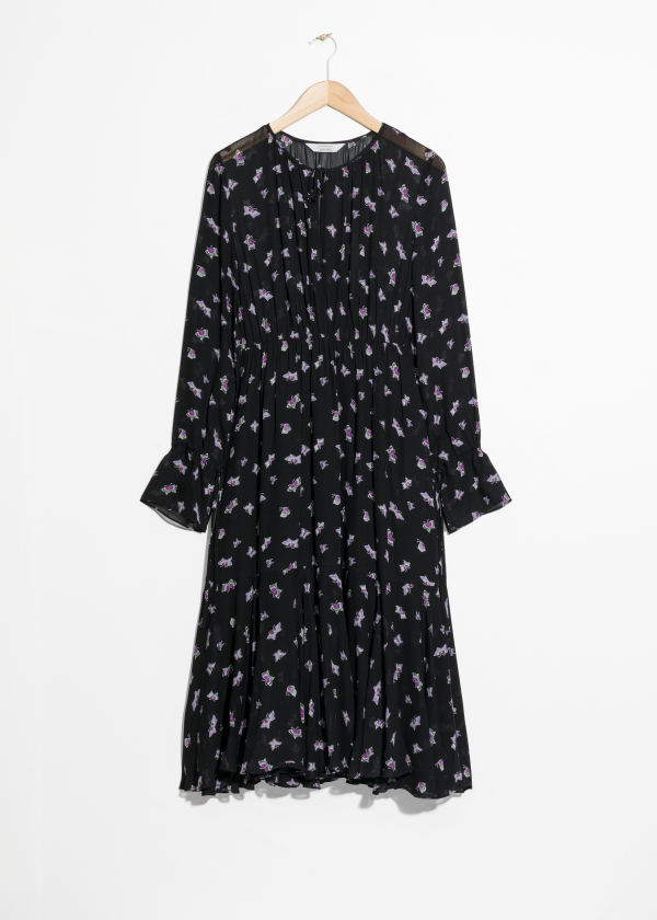 Printed Midi Tie Neck Dress
