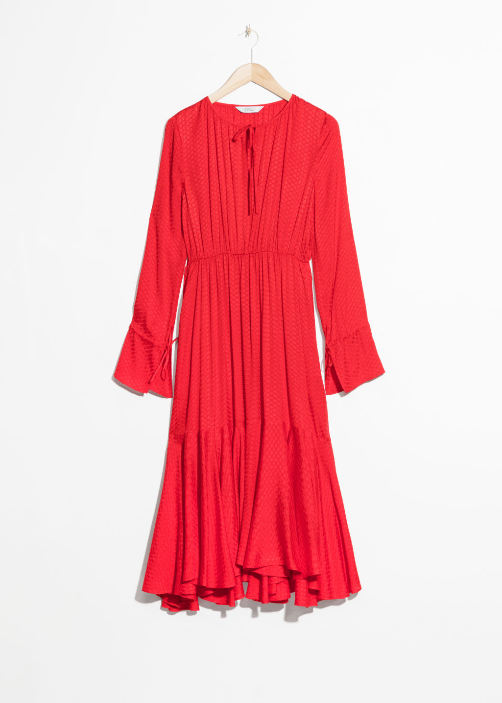 Front image of Stories midi tie neck dress in red