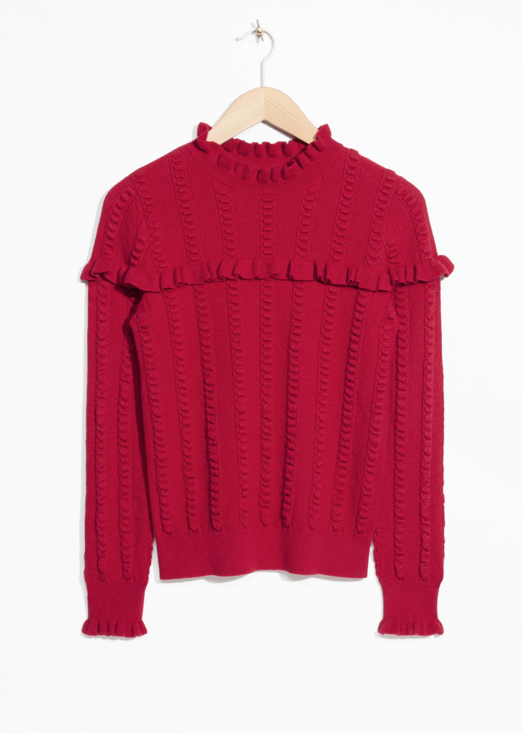 Front image of Stories ruffle knit sweater in red